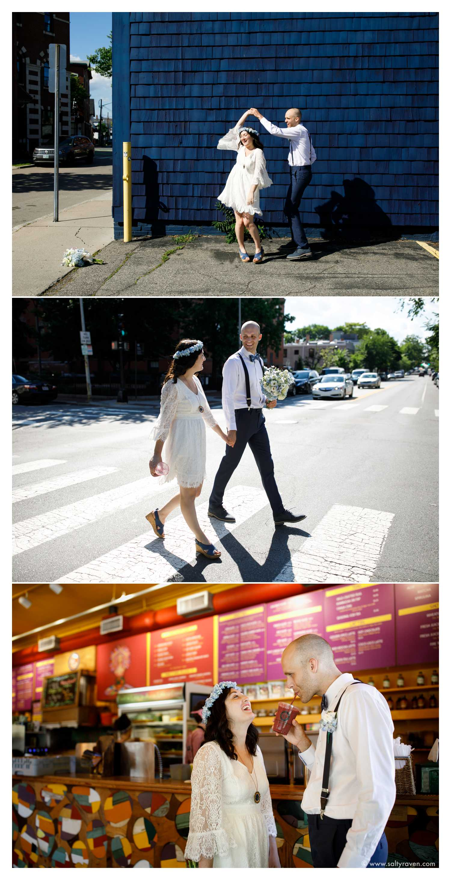 A Cambridge City Hall wedding of a woman in a short white dress and a man in a white shirt. They dance in front of a blue wall, walk across the street in a crosswalk, and then order a smoothie at Life Alive.