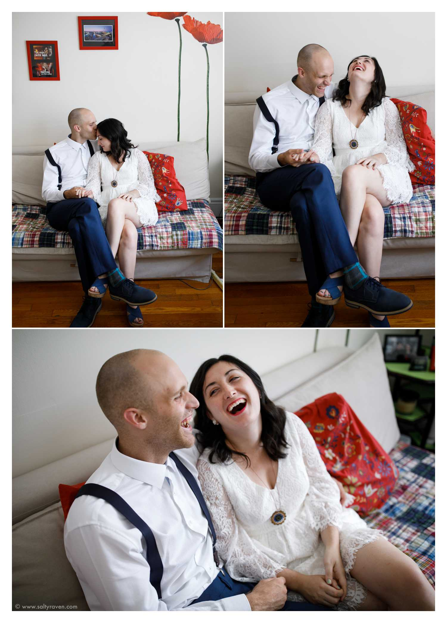 The couple relaxes on their couch at home before heading to Cambridge City Hall to get married.