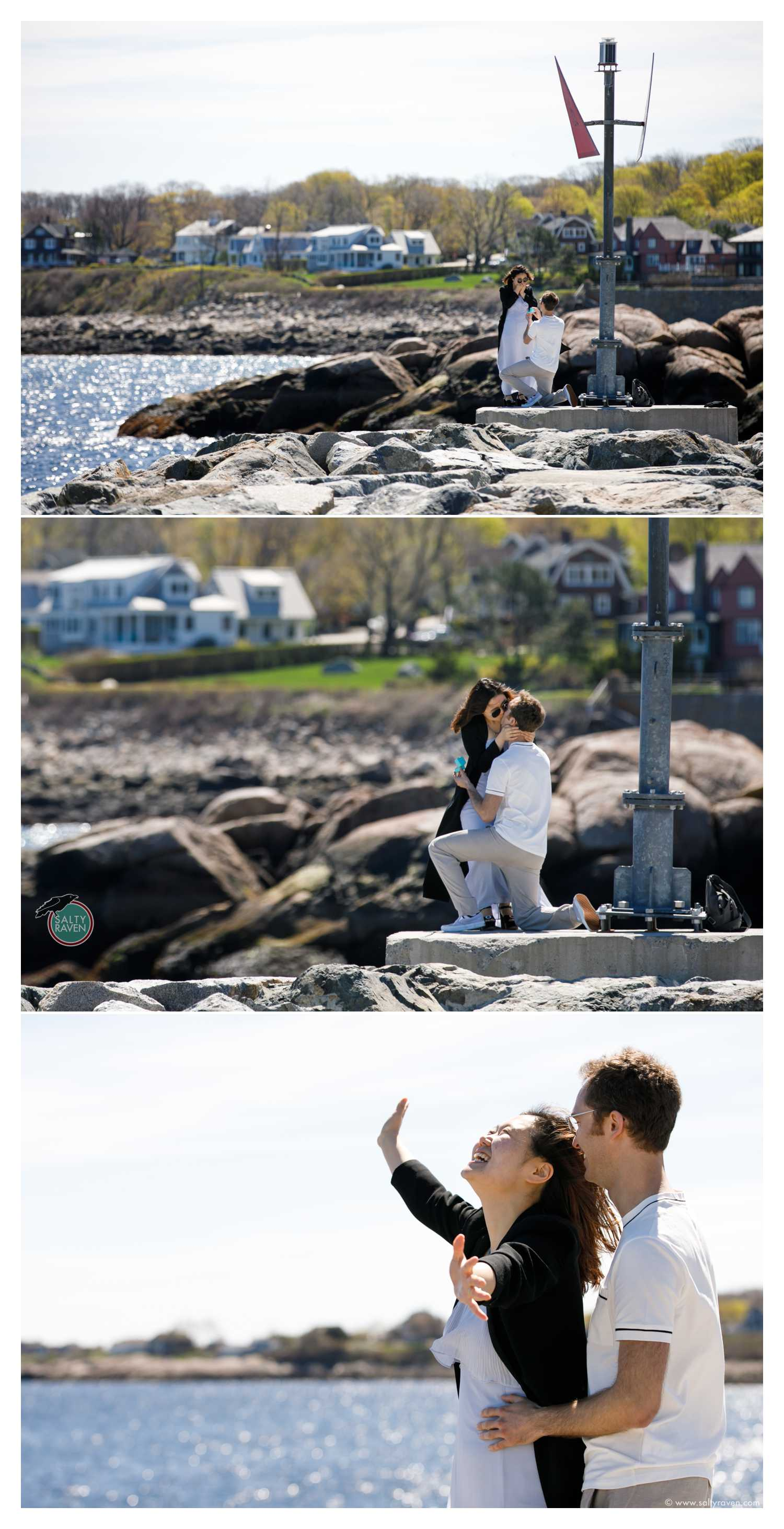 Proposal photography in Rockport, MA where a man proposed to a woman by getting down on one knee with a ring. She is surprised and says yes!