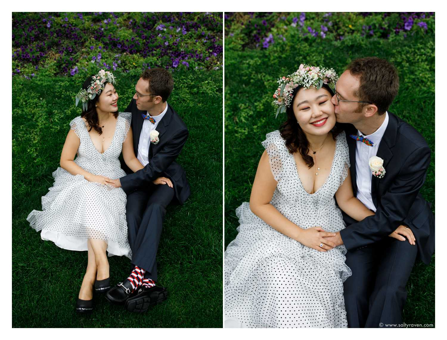 The newly married couple sits down on the lawn outside Cambridge City Hall.